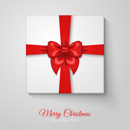 res: Merry Christmas Greeting Card with Christmas Gift Box. Res Silk Ribbon Bow and White Wrapping Paper.