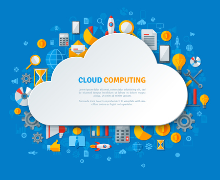 servers: Cloud Computing Design Concept with Paper Cloud Frame and Business Flat Icons. Vector illustration. Social Media Icons, Time, Calculation, Statistics Analysis, Settings. Illustration