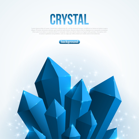 Blue abstract shining ice crystals background. Vector illustration. Crystal frozen structure. Cold crystals bunch. Gem backdrop with sparkles. Beautiful geometric design for business presentations.