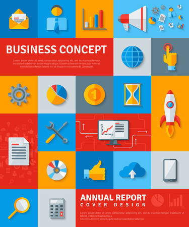 report cover design: Business Poster with Startup Rocket, Marketing, Statistics, Cloud Icons. Vector illustration. Vertical Business Banner. Flat Icons with Shadow. Annual Report Cover Design Concept.