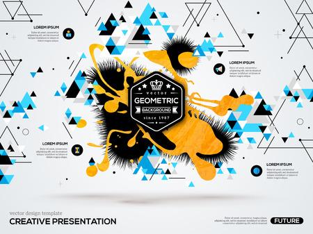 geometría: fondo abstracto 3D con manchas de pintura y formas geométricas triangulares. Vector de diseño de diseño para presentaciones de negocios, folletos, carteles. Antecedentes científicos futura tecnología. polígono geometría.