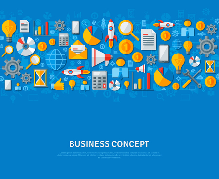 finance concept: Business Flat Banner Template Design With Business Icons and Symbols. Vector Illustration. Business and Finance Concept. Strategic Management background. Concept for cover and promotional materials.
