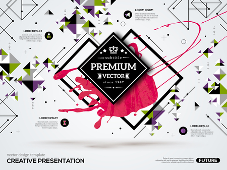 future: 3D abstract background with paint stain and geometric rhombus shapes. Vector design layout for business presentations, flyers, posters. Scientific future technology background. Geometry polygon.