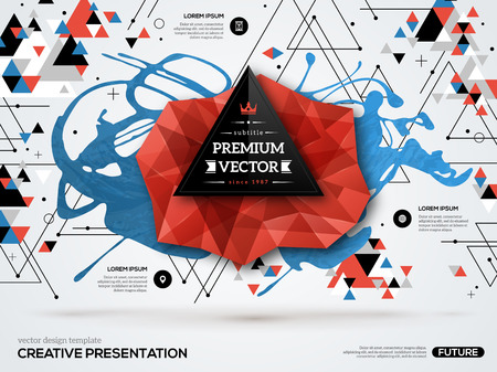 graphic presentation: 3D abstract background with paint stain and geometric shapes. Vector design layout for business presentations, flyers, posters. Scientific future technology background. Low polygon. Geometry polygon.