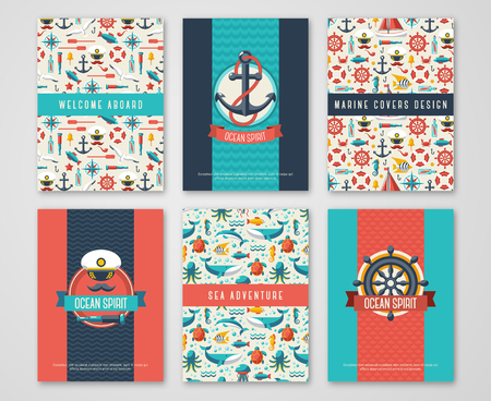 at sea: Set of Nautical and Marine Banners and Flyers. Card Template with Flat Sea Symbols. Ocean Theme. Vector Illustration. Marine Signs, Sealife, Whale. Nautical Badges and Labels. Captain Hat and Anchor.
