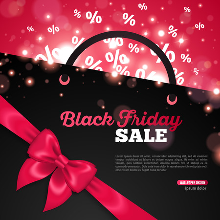 festival of lights: Creative Black Friday Banner Template with Place for Promotional Text. Vector Illustration. Percent Symbols flying away from Black Shopping Bag. Pink Shining Ribbon  Bow. Festival Lights, Bokeh