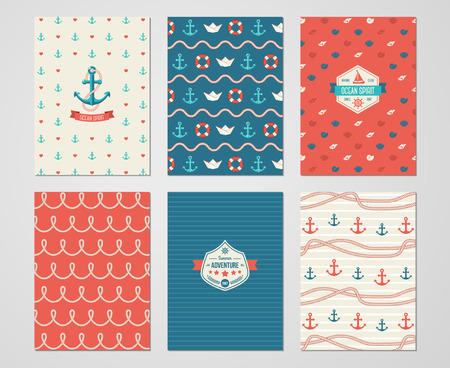 Set of Nautical and Marine Banners and Flyers. Card Template with Sea Symbols and Rope. Ocean Theme. Vector Illustration. Marine Signs in Flat Style. Nautical Badges and Labels.