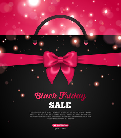 sale: Black Friday Creative Banner with Black Shopping Bag and Pink Ribbon Bow. Vector Illustration. Place for Promotional Text. Bokeh, Sparkles. Shining Christmas Total Sale Background.