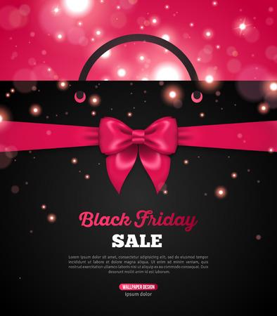 lazo rosa: Viernes Negro Banner creativa con negro Bolsa de la compra y el arco rosado de la cinta. Ilustraci�n del vector. Lugar para el texto promocional. Bokeh, chispas. Shining Christmas total Fondo de la venta.