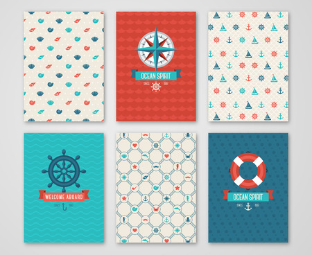 Summer Banners Set Concept. Pattern and Labels with Nautical Symbols. Vector illustration. Marine Symbols. Save the Date Cards Design in Cute Marine Style. Compass, Wheel. Illustration