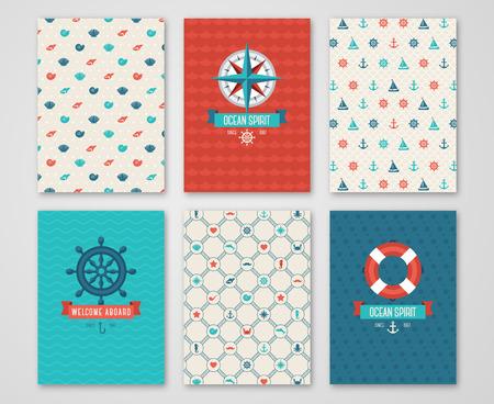 Zomer Banners Concept. Patroon en Etiketten met Nautische symbolen. Vector illustratie. Marine Symbolen. Save the Date Cards Design in Leuke Marine Style. Kompas, Wheel.