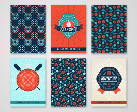 nautical: Summer Sea Cards Set with Patterns of Marine Symbols and Labels. Nautical Design Concept. Sea Creatures Silhouettes. Banners or Save the Date Wedding Invitation Cards
