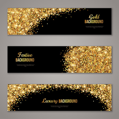 horizontal: Horizontal Black and Gold Banners Set, Greeting Card Design. Golden Dust.