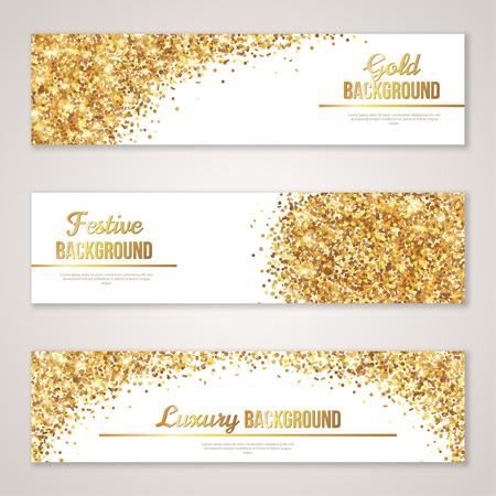 sottofondo: Banner design con glitter oro Texture. Vettoriali