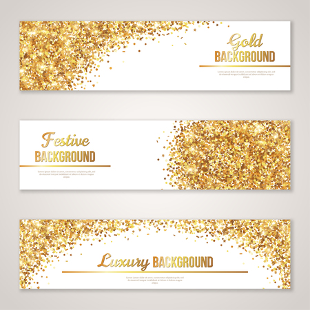 clubs diamonds: Banner Design with Gold Glitter Texture.  Illustration