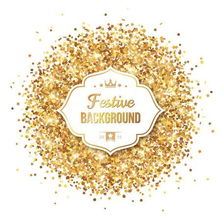 staub: Gold Glitter Pailletten mit Rahmen auf weißem Hintergrund. Vektor-Illustration. Leuchten und Glitzern. Glühende Silvester oder Weihnachten Hintergrund. Golden Dust. Illustration