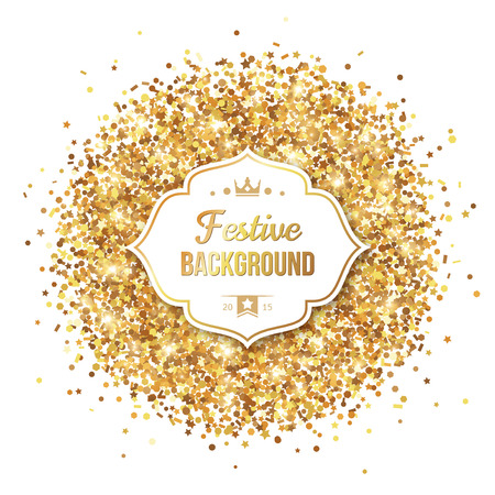 Gold Glitter Sequins with Frame Isolated on White Background. Vector illustration. Lights and Sparkles. Glowing New Year or Christmas Backdrop. Golden Dust. Ilustracja
