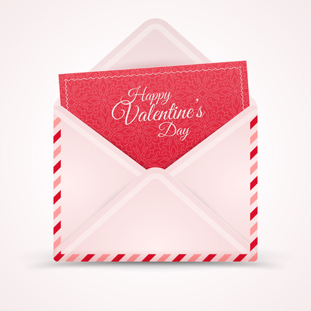 sorpresa: Realistic Mail Envelope, Letter Happy Valentines Day.  Vectores