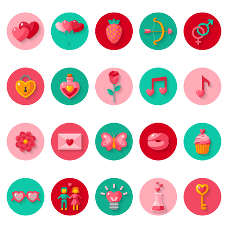 day valentine: Valentines day icons elements collection.  Illustration