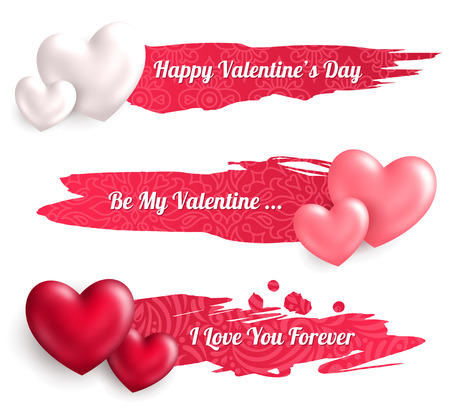 valentines day: Valentines Day Horizontal Banners with Heart Balloons Watercolor Patterned Strokes. Illustration
