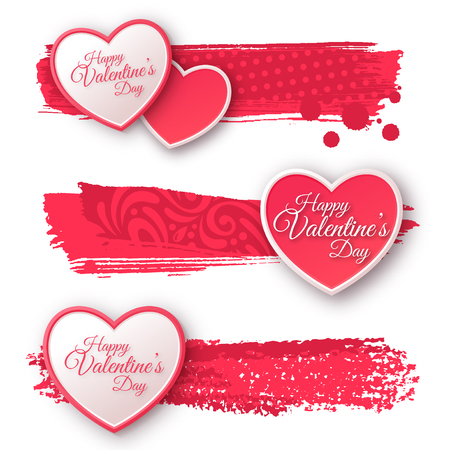 Happy valentines day: Pink and White Paper Hearts with Watercolor Patterned Strokes.
