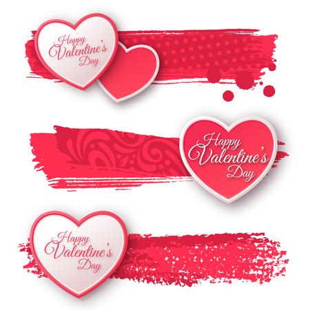 liebe: Rosa und weiße Papierherzen mit Aquarell Patterned Strokes.