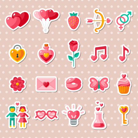 pink flower: Valentines day icons elements collection.  Illustration