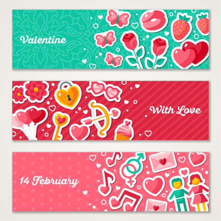 love concepts: Valentines Horizontal Banners Set With Flat Icons.