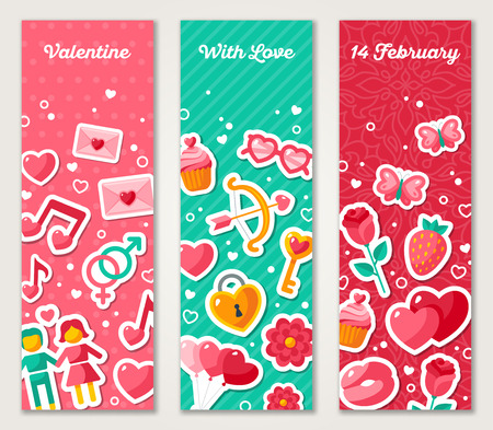 sticker design: Valentines Vertical Banners Set With Flat Icons.