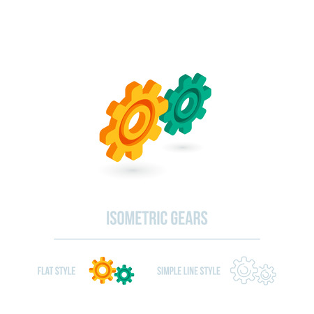 toothed: Isometric gear icon.  Illustration