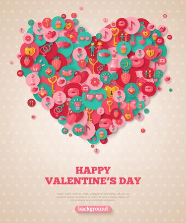 バレンタイン バナー フラット アイコンの心。  イラスト・ベクター素材