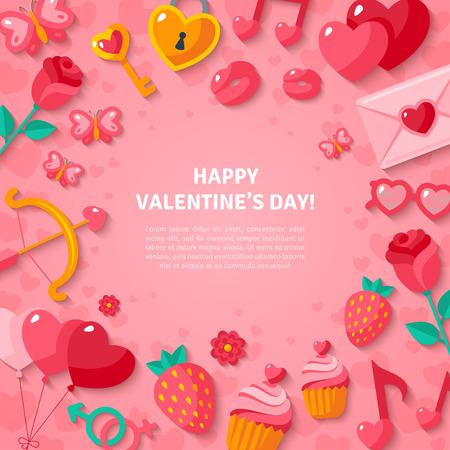 liebe: Happy Valentinstag Hintergrund. Illustration