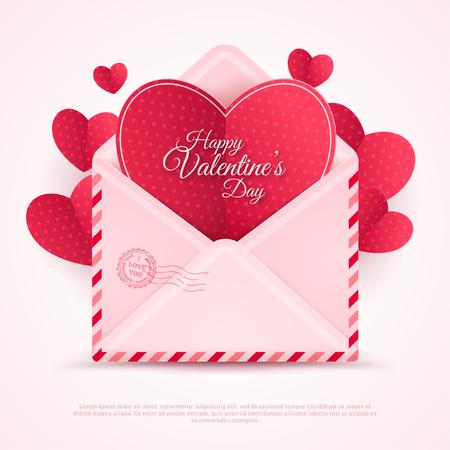 love letter: Feliz del sobre de San Valentín con corazones de papel.