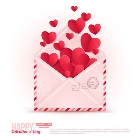 valentines: Happy Valentines Day Envelope with Paper Hearts Flying Away.