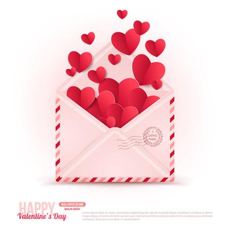 liebe: Happy Valentinstag Umschlag mit Papierherzen fliegen weg.