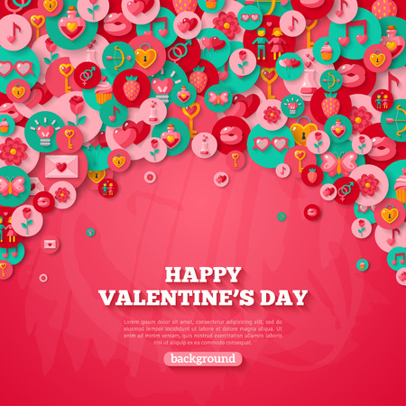 day: Valentines day Background with Circle Flat Icons.  Illustration