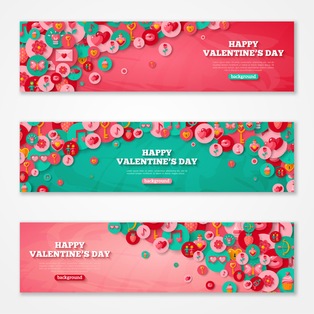 Valentines Horizontal Banners Set Flat Circle Icons.