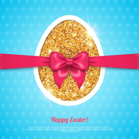 golden egg: Happy Easter greeting card template with golden egg and pink bow. Illustration