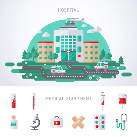 blood: City Hospital Building with Ambulance and Helicopter.