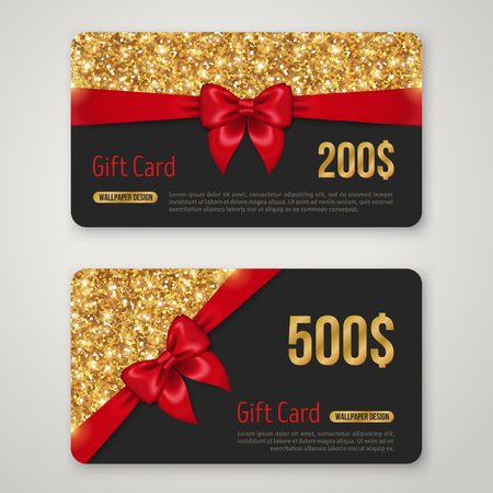 christmas sales: Gift Card Design with Gold Glitter Texture and Red Bow.
