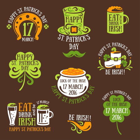 irish beer label: Set Of Happy St. Patricks Day Typography Emblems. Vector illustration. Irish Party Invitation Design. Typographic Template. Patrick Day Menu Cover. Eat, Drink and be Irish.