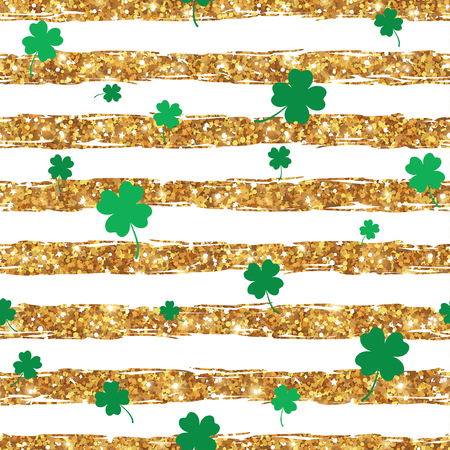 patrick backdrop: Seamless pattern with clover. St. Patricks day background. Vector Illustration. Green shamrock leaves on striped gold shiny backdrop. Patrick Day Design, Brochure Cover, Poster, Invitation Design.