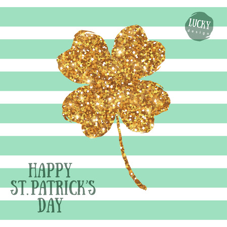 Happy St. Patricks Day Greeting Card with Gold Four Leaf Clover on Stripes Background.  Vector illustration. Patrick Day Flyer Design, Brochure Cover, Poster. Minimalistic Invitation Design.
