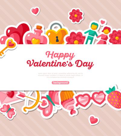 love cloud: Valentine Banner with Flat Icons Border. Vector Illustration. Stripes Textured Backdrop.Valentines Day Love Concept Symbols. Cute Party Invitation. Valentine Menu Cover Design. Illustration