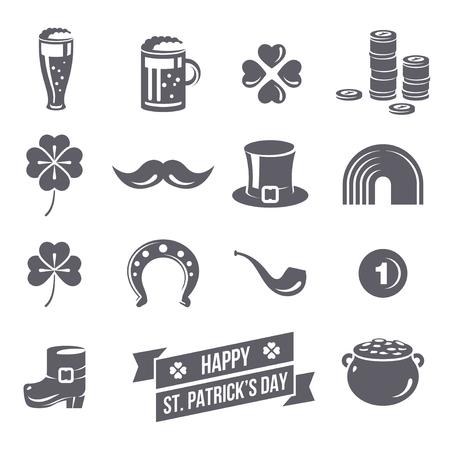 bigote: Iconos del día de St Patrick aislado sobre fondo blanco. Ilustración del vector. Símbolos del día de Patrick. Taza de cerveza irlandesa, monedas, arco iris, sombrero de duende, la olla con monedas, trébol de cuatro hojas