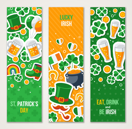 clover banners: Vertical Saint Patricks Day Banners Set with Irish Stickers Symbols in Flat Style. Vector Illustration. Ireland Icons. Patrick Day Celebration Concept. Four Leaves Clover. Leprechaun Hat, Pot Coins.