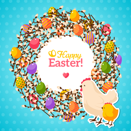 chicken family: Easter wreath with colorful pattern eggs and willow branches. Hen and Chicken. Vector Illustration. Cute Easter frame with place for text. Easter template design, greeting card.