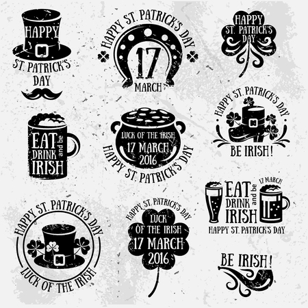 irish pub label: Set Of Happy St. Patricks Day Typography Retro Style Emblems. Vector illustration. Irish Party Typographic Template. Patrick Day Menu Cover. Eat, Drink and be Irish. Black labels isolated on white Illustration