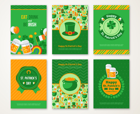 st  patrick's: Set Of Happy St. Patricks Day Greeting Card or Flyer. Vector illustration. Party Invitation Design with Emblem. Typographic Template. Patrick Day Menu Cover Design. Eat, Drink and be Irish. Illustration