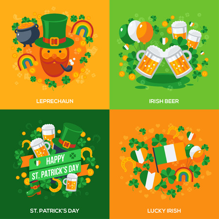patrick's: Set Of Happy St. Patricks Day Flat Icons Concept. Square Composition for Greeting Card or Flyer. Vector illustration. Party Invitation Design Template. Eat, Drink and be Irish.